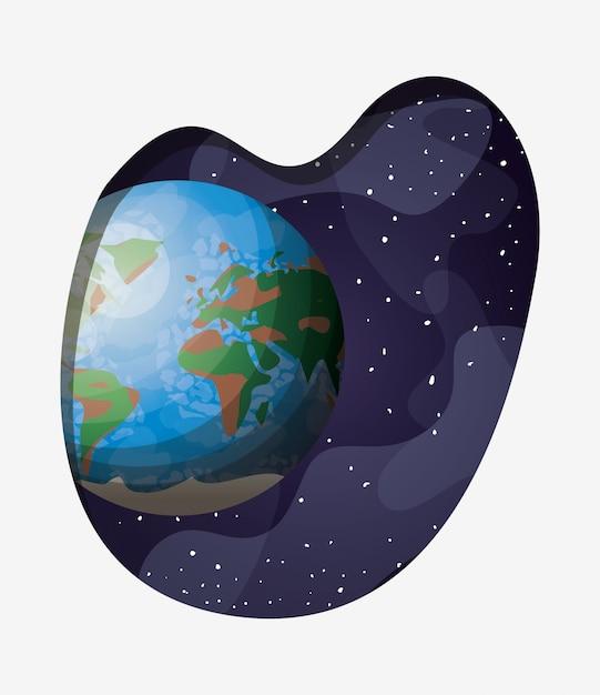 Planète terre système solaire Vecteur gratuit