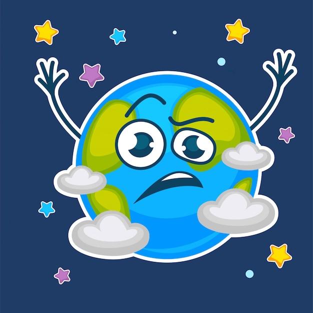 Planète terrestre au visage confus parmi les étoiles et les nuages Vecteur Premium
