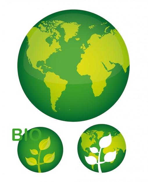 Planète verte avec plante sur illustration vectorielle fond blanc Vecteur Premium