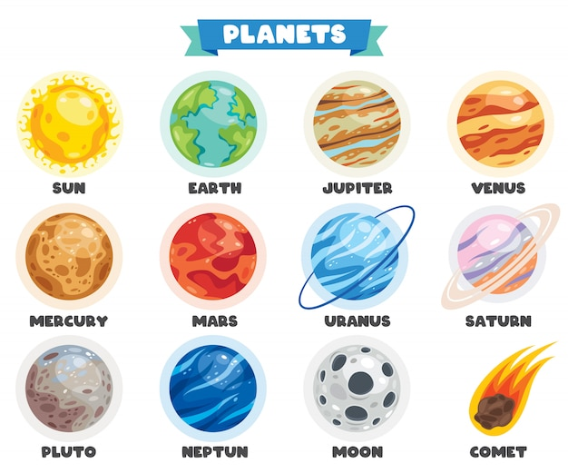 Planètes Colorées Du Système Solaire Vecteur Premium