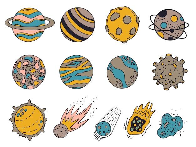 Planètes De Doodle. Planètes Et Météorites Univers Dessinés à La Main, Corps Mignons Du Système Solaire Vecteur Premium