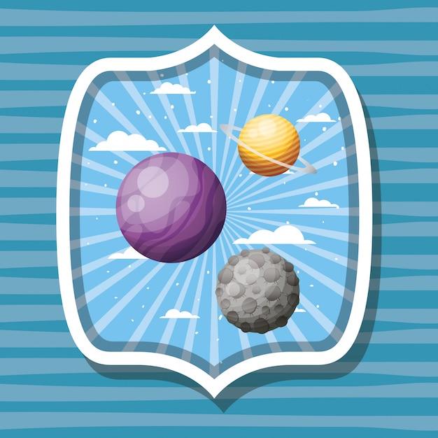 Planètes de l'espace et lune sur étiquette rayée Vecteur gratuit