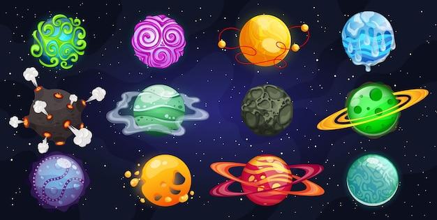 Planètes Fantastiques. Univers Spatial Coloré De Différentes Planètes. Vecteur Premium