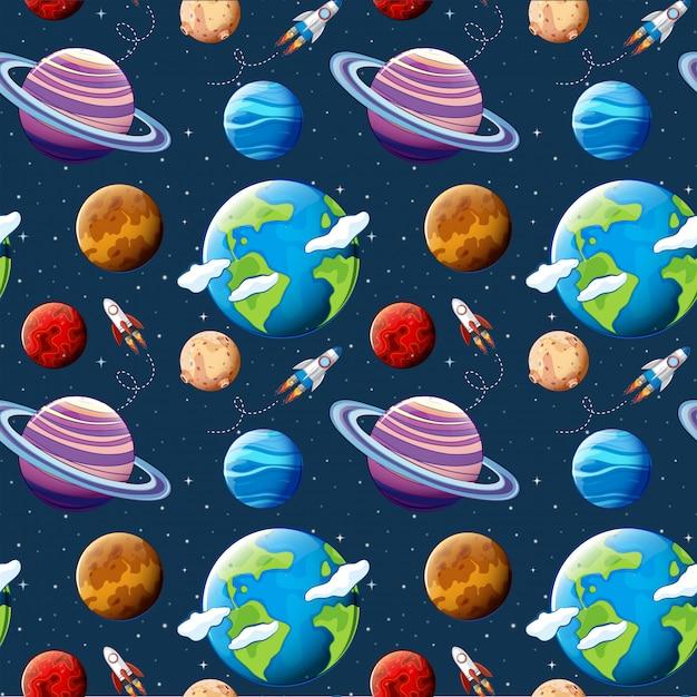 Planètes de modèle sans couture et l'espace Vecteur Premium