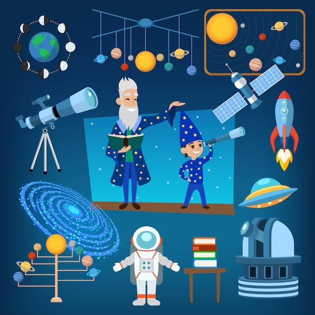Planètes et soleil de notre système solaire astrologie icônes d'astronomie vector illustration, éducation des personnes Vecteur Premium