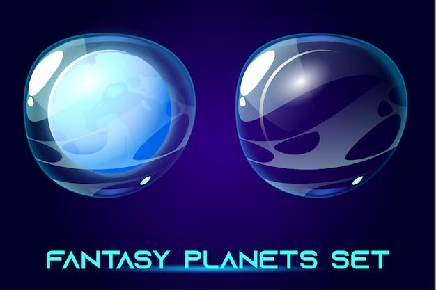 Planètes Spatiales Fantastiques Définies Pour Le Jeu De Galaxie Ui. Vecteur gratuit