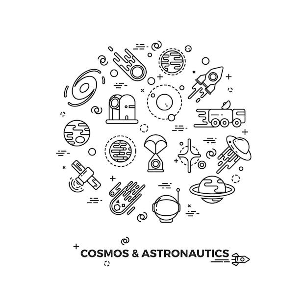 Planètes spatiales et icônes vectorielles fusée Vecteur Premium