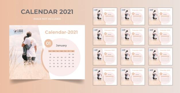 Planificateur De Date Minimal, Modèle De Calendrier De Bureau 2021 Vecteur Premium