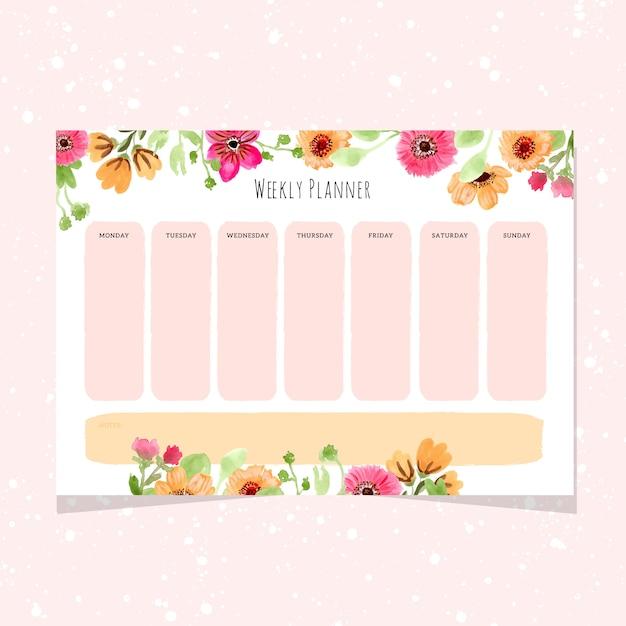 Planificateur hebdomadaire avec cadre de fleur aquarelle Vecteur Premium
