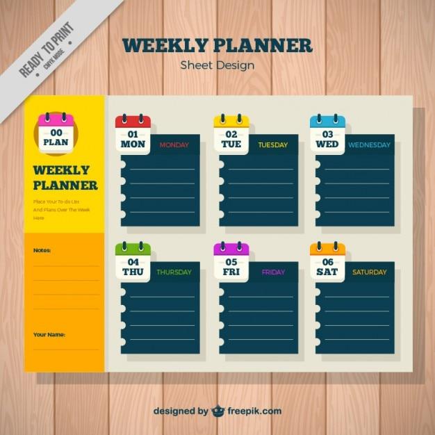 Planificateur Hebdomadaire Avec Des Notes De Papier Vecteur gratuit