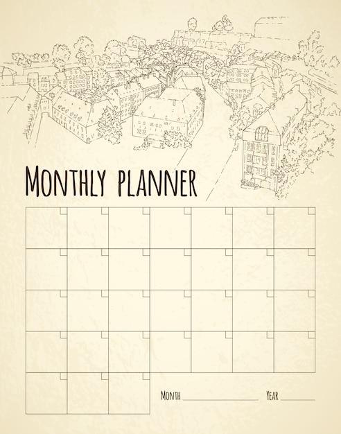 Planificateur mensuel avec dessin de la ville Vecteur Premium