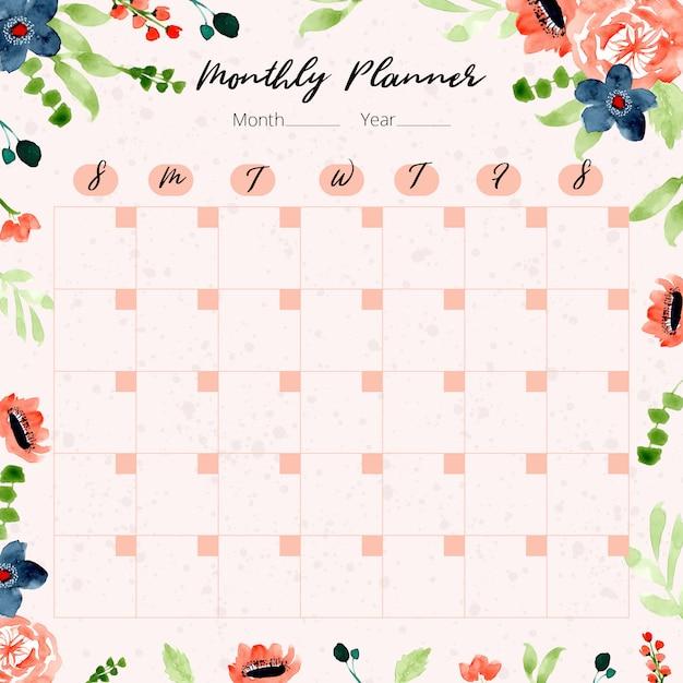Planificateur mensuel avec fond aquarelle floral marine orange Vecteur Premium