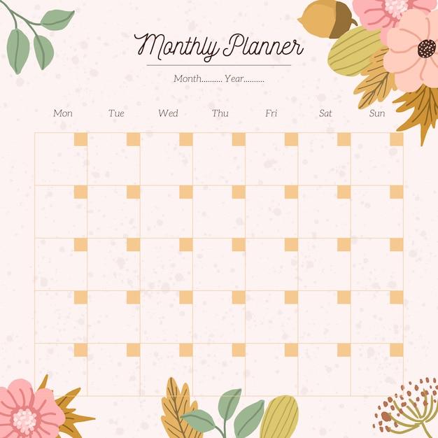 Planificateur mensuel avec fond floral d'automne Vecteur Premium