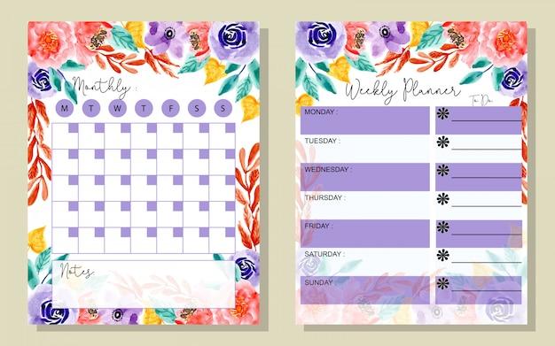 Planificateur mensuel et hebdomadaire avec aquarelle floral Vecteur Premium