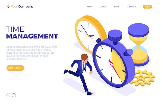 Planification De La Gestion Du Temps Avec Chronomètre Vecteur Premium