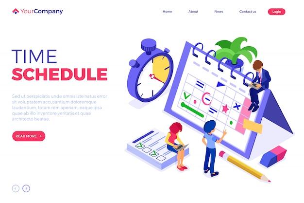 Planification De La Gestion Du Temps Du Calendrier. Modèle De Page De Destination Vecteur Premium