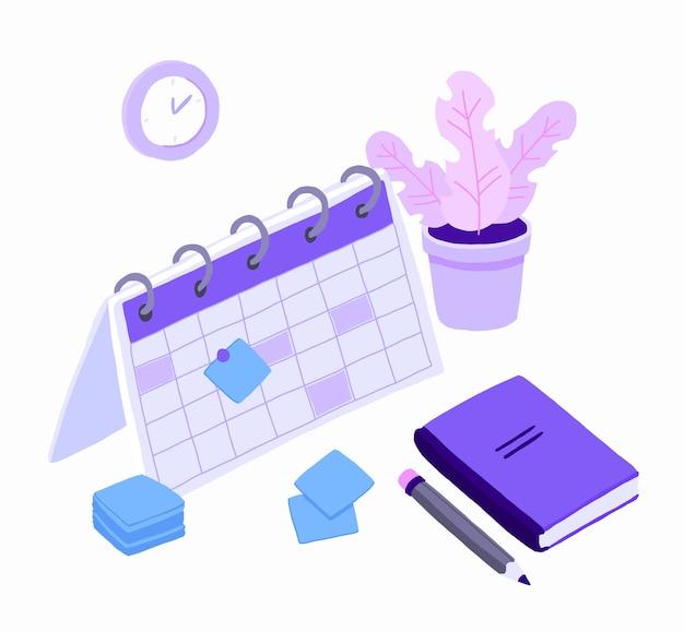 Planification Isométrique Des Plannings Des Tâches Commerciales Pour La Semaine. Vecteur Premium