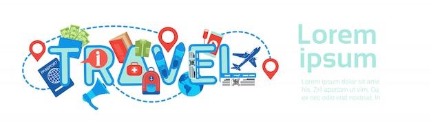 Planification d'un itinéraire, modèle d'emballage et de réservation, modèle de bannière horizontale Vecteur Premium