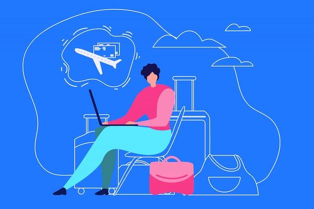 Planification de vacances voyage plat vector concept Vecteur Premium