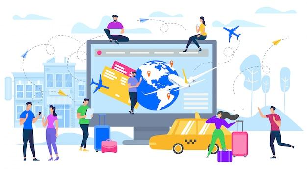 Planification de voyages avec des services en ligne à plat vector Vecteur Premium