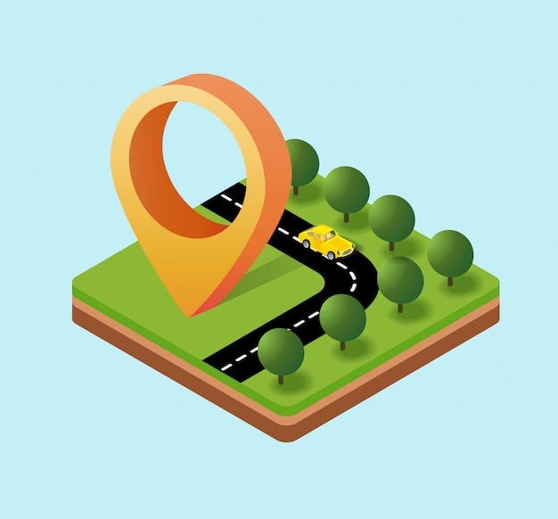 Plans isométriques des icônes de navigation Vecteur Premium