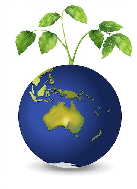 Une plante au dessus de la planète terre Vecteur gratuit