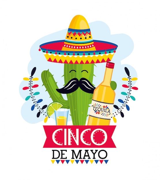 Plante De Cactus Avec Chapeau Et Tequila à événement Mexicain Vecteur Premium