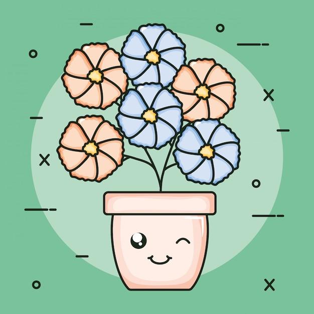 Plante de jardin en pot caractère kawaii Vecteur Premium