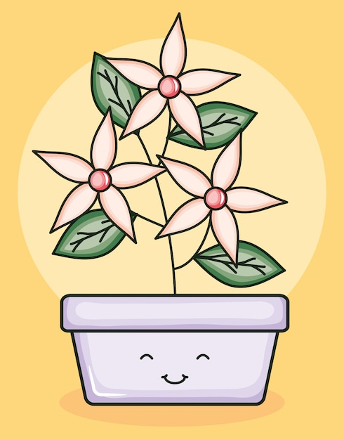 Plante de jardin en pot kawaii Vecteur Premium