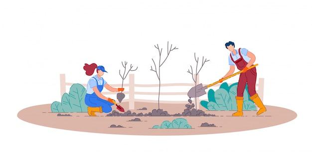 Planter Des Arbres Fruitiers. Homme Et Femme Jardinier Gens Personnages De Dessins Animés Tenant Des Pelles Et Planter Des Arbres Fruitiers Dans Le Jardin. Jardinage Et Agriculture Vecteur Premium