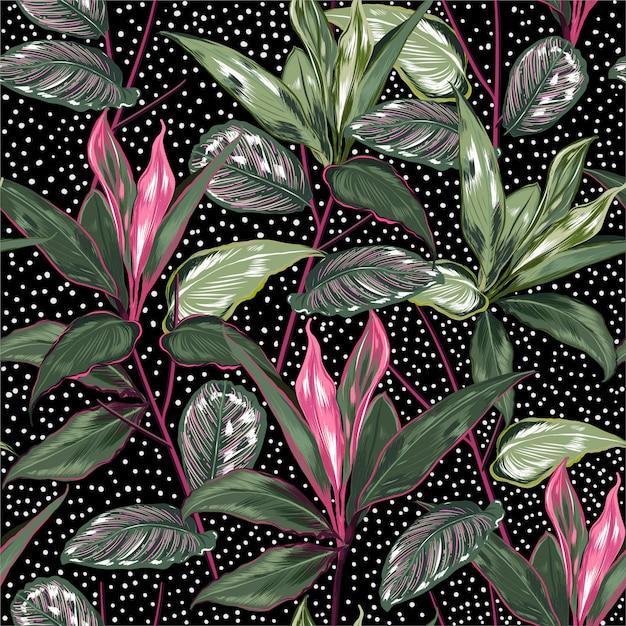 Plantes botaniques d'été et modèle sans couture de forêt sauvage Vecteur Premium
