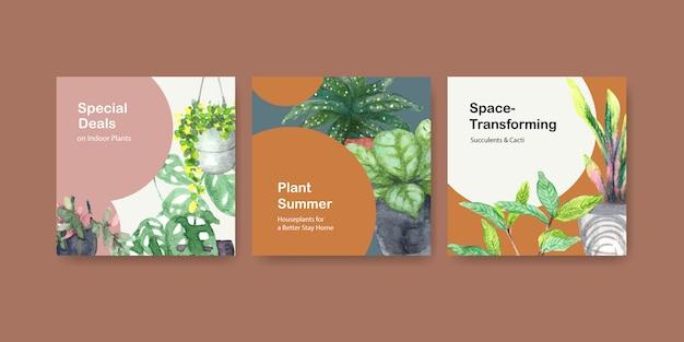 Plantes D'été Et Plantes D'intérieur Annoncent La Conception De Modèles De Dépliant, Illustration Aquarelle De Livret Vecteur gratuit