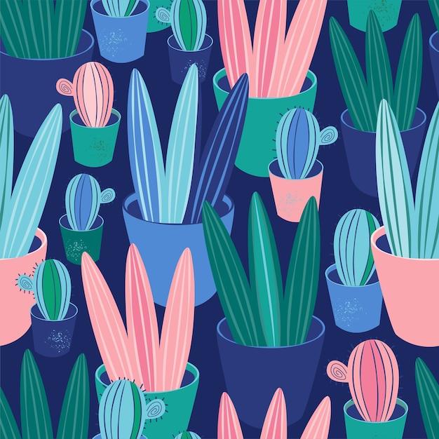 Plantes De Modèle Sans Couture, Cactus, Plantes Succulentes En Pot. Fond Scandinave Cosy Décor à La Maison Vecteur Premium