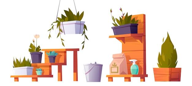Plantes En Pots Sur Support En Bois Pour Serre Vecteur gratuit
