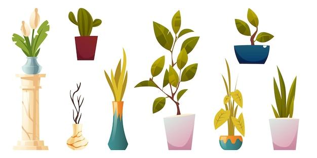Plantes En Pots Et Vases Pour L'intérieur De La Maison Ou Du Bureau Isolated On White Vecteur gratuit