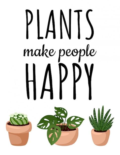 Les plantes rendent les gens heureux bannière. ensemble de carte postale de plantes succulentes en pot hygge. collection de plantes de style scandinave confortable lagom Vecteur Premium