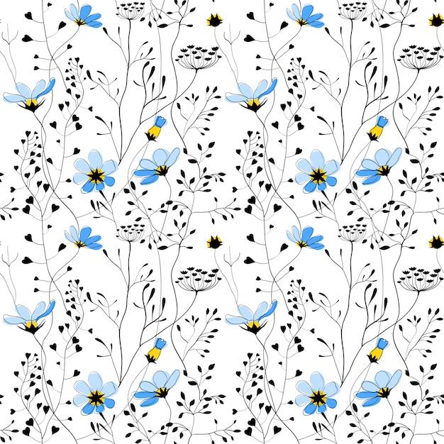 Plantes sauvages et modèle sans couture de fleur bleue Vecteur Premium