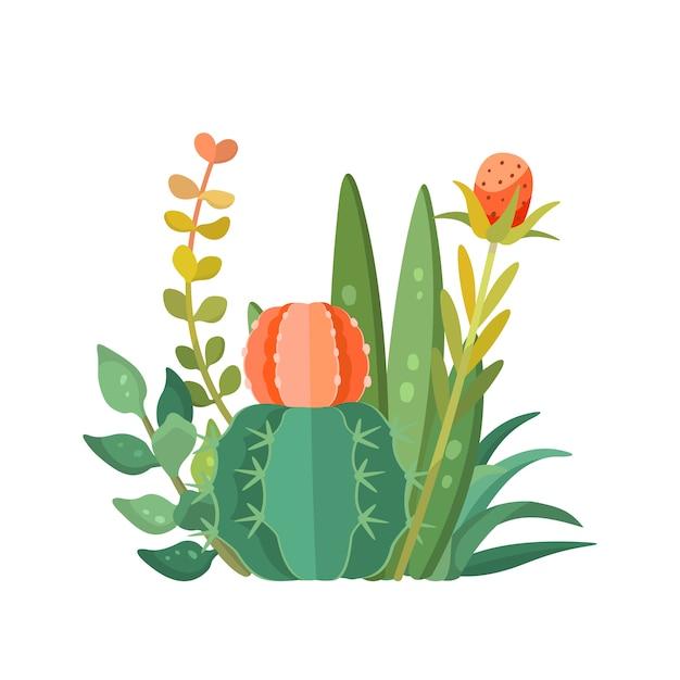 Plantes Tropicales Et Composition De Cactus, Vecteur Vecteur Premium