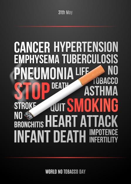 Plaque De Concept De Soins De Santé Avec Cigarette Réaliste. Vecteur Premium