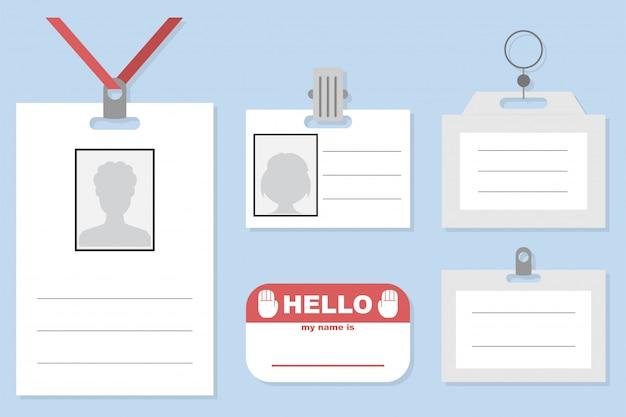 Plaque d'identité, badge, carte d'identité et autocollant avec des lanières et des clips vectoriels modèle ensemble isolé Vecteur Premium