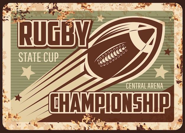 Plaque De Métal Rouillé De Championnat De Rugby Vecteur Premium