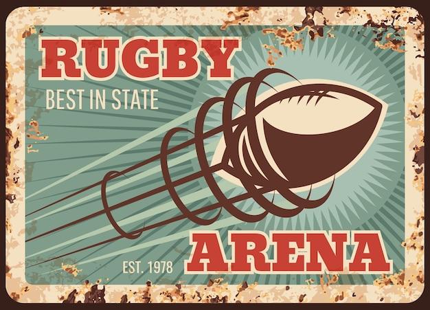 Plaque De Métal De Sport De Rugby Rouillé, Ballon De Football Américain Sur Arène, Affiche Rétro. Vecteur Premium