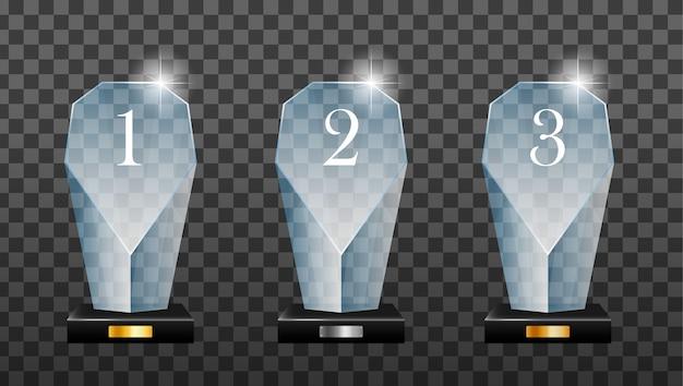 Plaque Podium Vainqueur En Verre Doré, Argent Et Bronze Avec Reflet Miroir. Trophée De Verre Gagnant. Prix De La Première Place, Prix Du Cristal Et Trophées En Acrylique Signés. Vecteur Premium