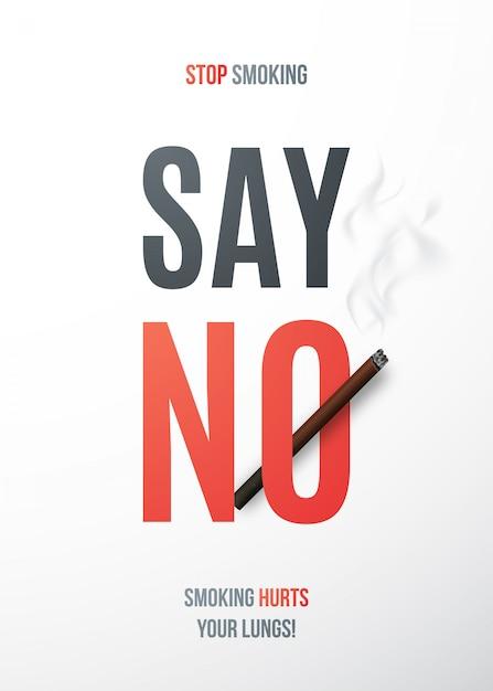 Plaque Pour Arrêter De Fumer Avec Cigarette Réaliste Et Texte Dites Non. Vecteur Premium