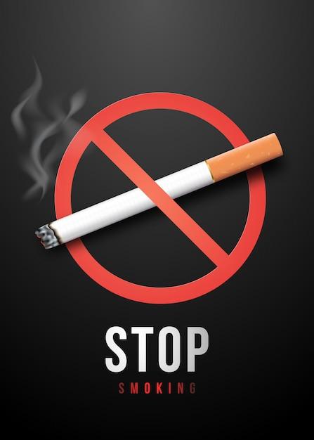 Plaque Pour Arrêter De Fumer. Vecteur Premium
