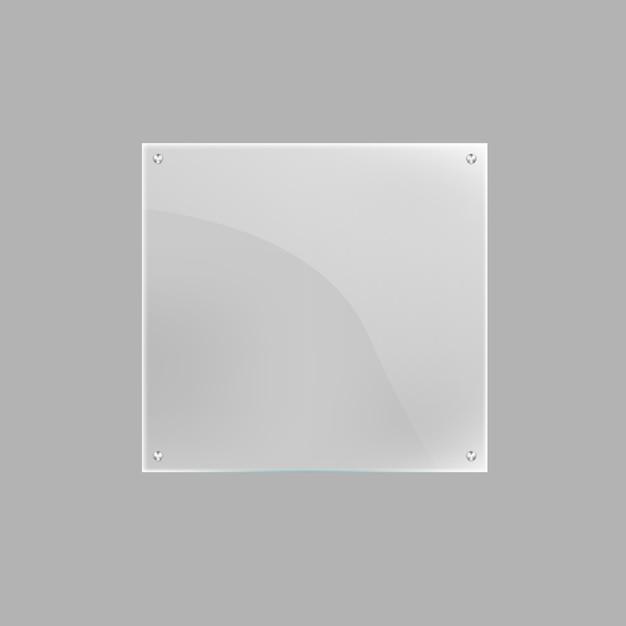 Plaque De Verre Carrée Blanche Isolée Vecteur Premium