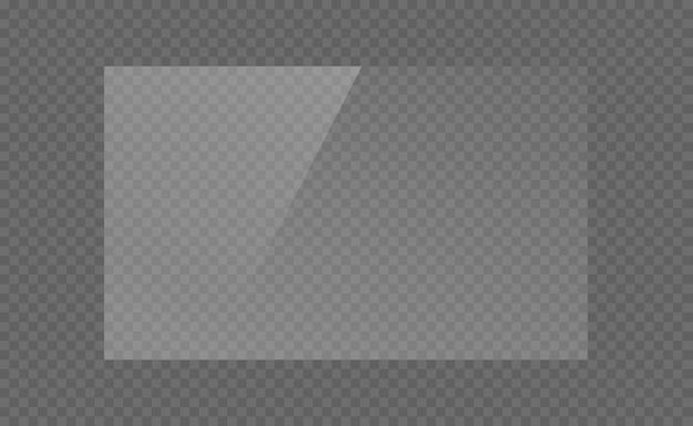 La Plaque De Verre Rectangulaire, Miroir, Fenêtres. Plaques De Verre Ou Bannières Isolés Sur Fond Transparent. Effet Lumineux Pour Une Photo Ou Un Miroir Vecteur Premium