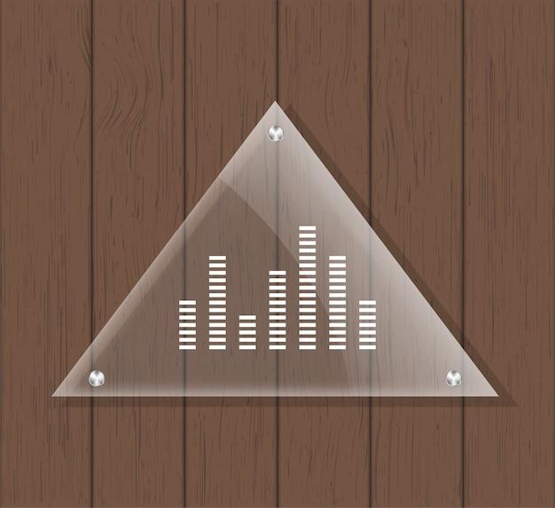 Plaque De Verre Triangle Sur Table En Bois Vecteur Premium