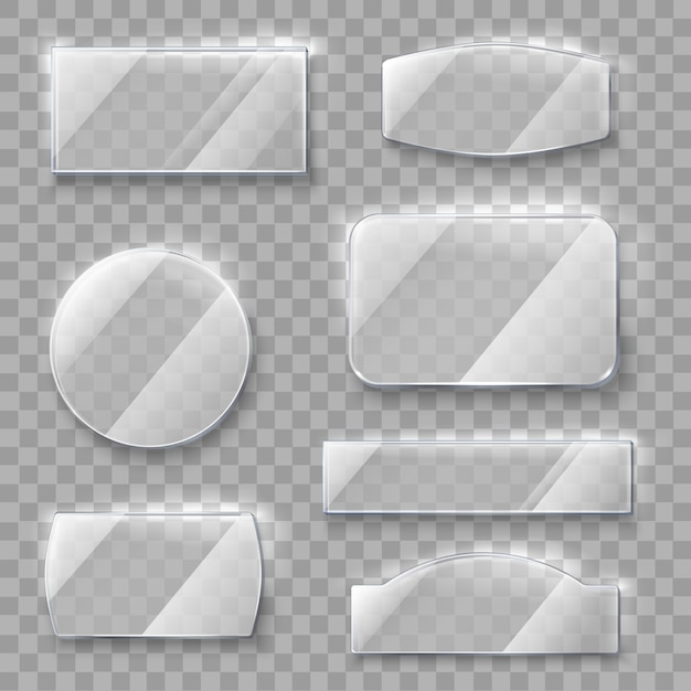 Plaques en verre transparent Vecteur gratuit