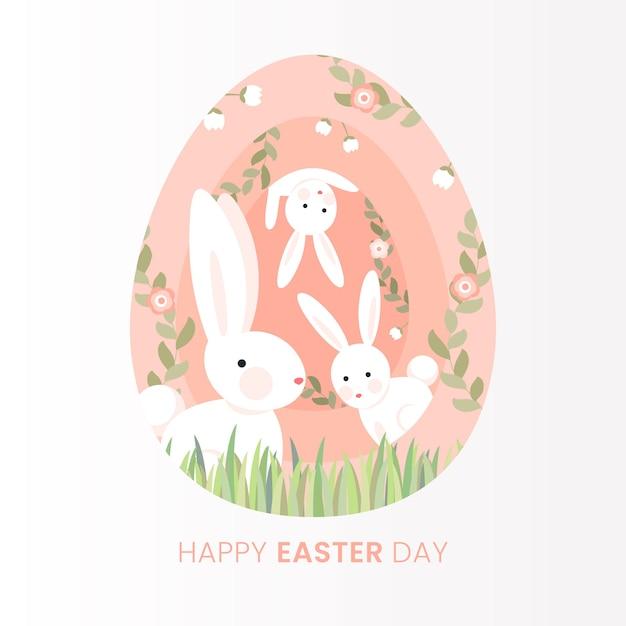 Plat Joyeux Jour De Pâques Avec Des Lapins Vecteur gratuit